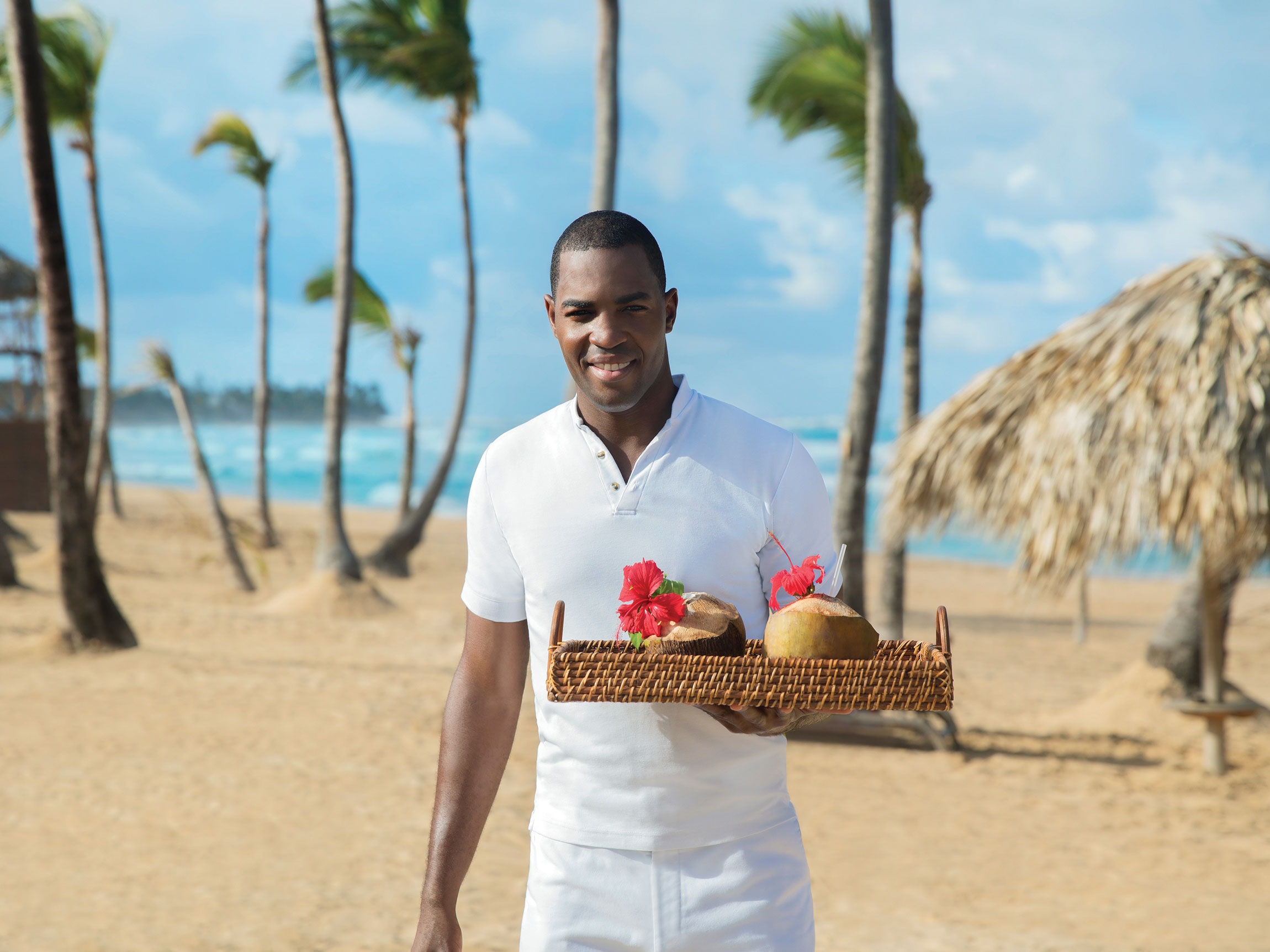 Beach Waiter at a Punta Cana All Inclusive Resort